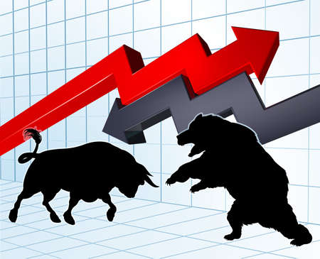 Bull versus a bear characters in silhouette with stock market or profit graph in the background