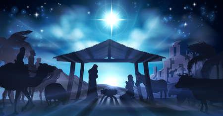 Presépio de Natal cristã do menino Jesus na manjedoura com Maria e José em silhueta cercada por animais e os três Reis Magos com a cidade de Belém à distância