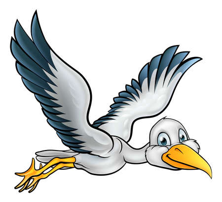 Happy stork bird animal cartoon character flying through the air Vectores