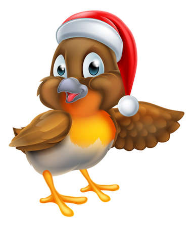 Cartoon robin bird in Christmas Santa Claus hat pointing with wing