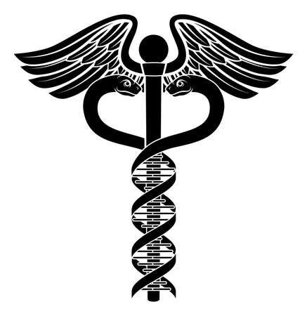 Caduceus medical symbol with the two snakes becoming a human DNA double helix genetic chromosome strand