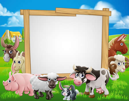 Farm cartoon sign with cute animals around a signboard