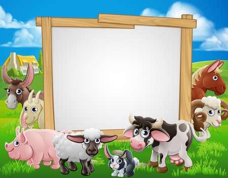 signo de dibujos animados granja con animales divertidos alrededor de un letrero