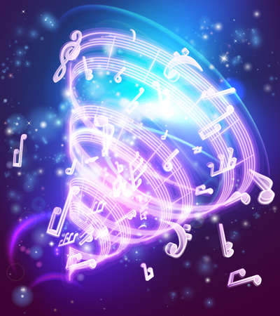 An abstract magic music musical notes background with musical notes and symbols