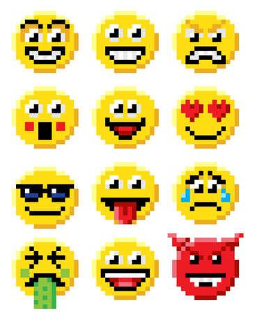 복고풍 8 비트 비디오 게임 스타일 이모티콘 또는 이모티콘 얼굴 아이콘의 픽셀 아트 세트
