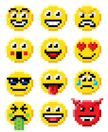 Pixel art set of emoji or emoticon face icons in a retro 8 bit video game style Illustration
