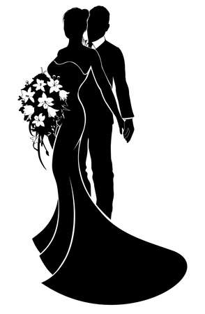 Wedding couple bride and groom in silhouette with the bride in a bridal dress gown holding a floral bouquet of flowers