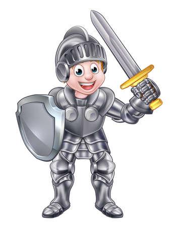 Cartoon rycerz chłopiec w jego zbroi trzyma miecz i tarczę