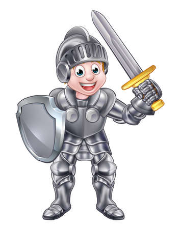 Un niño de dibujos animados caballero en su armadura que sostiene una espada y un escudo