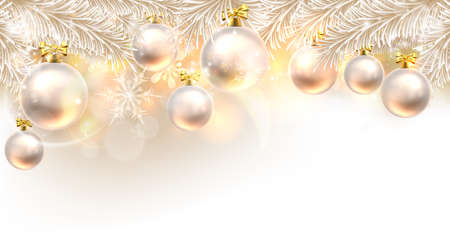 Christmas background bauble design element in white and gold Imagens - 64034985