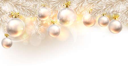 Noël fond élément de design babiole en blanc et or Vecteurs
