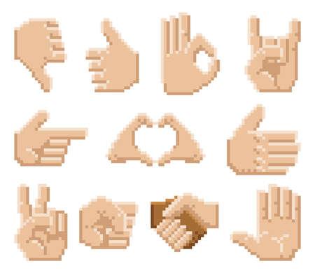 A set of 8 bit pixel art hand icons Vettoriali