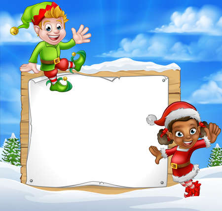 A winter snow scene landscape Christmas sign elf helpers cartoon characters one in a Santa hat Illustration