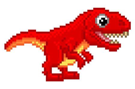 Pixel art 8 bit cartoon T Rex Tyrannosaurus dinosaur character Illustration