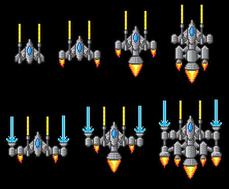 Pixel art arcade video game spaceship graphic set with ship being upgraded or powered up Illustration
