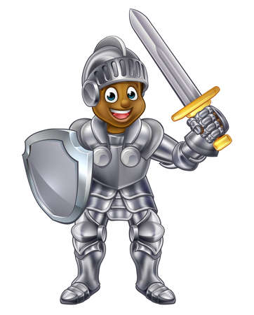 Cartoon young black knight boy in his suit of armour holding a sword and shield