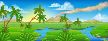 Un cartone animato sfondo preistorico Jurassic scena di paesaggio Vettoriali