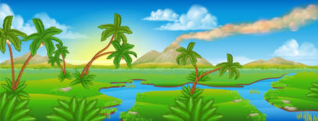 A cartoon prehistoric background Jurassic scene landscape Vectores