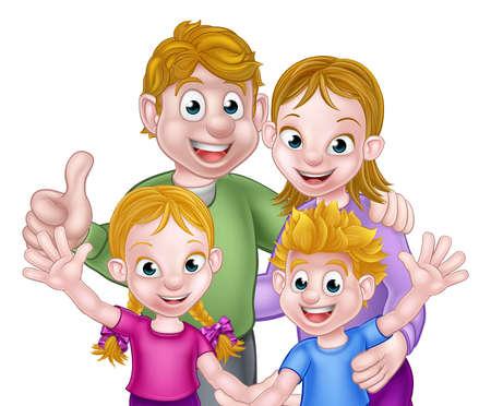 子供と親の家族のシーン  イラスト・ベクター素材
