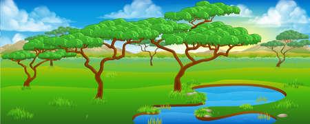 Un fondo de dibujos animados safari sabana africana escena del paisaje