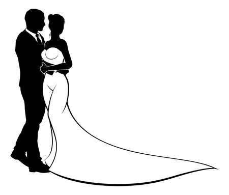 Bruid en bruidegom bruidspaar in silhouet in een bruids trouwjurk jurk
