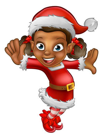 A cute dancing cartoon Christmas elf in a Santa hat and outfit Illustration
