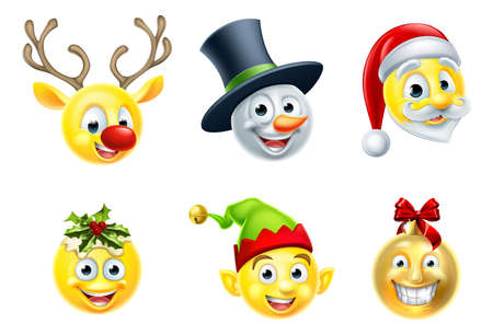 A set of Christmas emoji icons