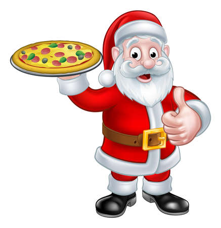 Santa Christmas Chef cartoon character giving a thumbs up and holding a plate of pizza