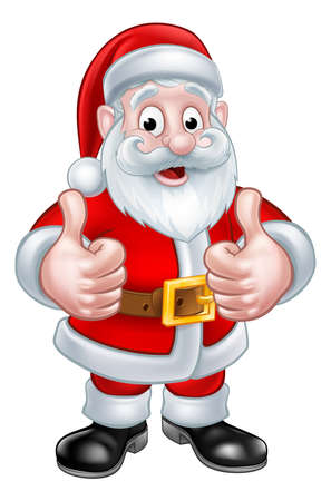 Santa Claus Christmas cartoon character giving a thumbs up