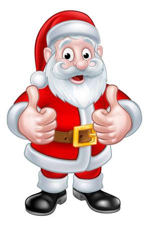 Santa Claus Christmas cartoon character giving a thumbs up Фото со стока - 64446461