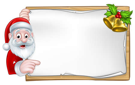 Santa cartoon Christmas character peeking around a wooden scroll sign with gold bells and holly Vectores
