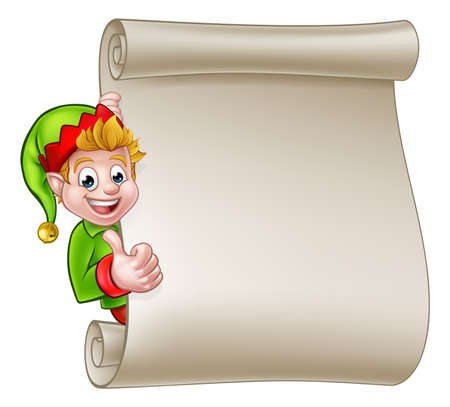 A cute cartoon Christmas elf peeking around scroll sign and giving a thumbs up