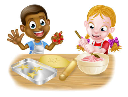 Cartoon boy and girl kids, one black one white, dressed as chefs or bakers baking cakes and cookies Illustration