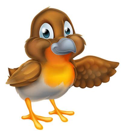 Een cartoon kerst robin vogel karakter wijzend met hun vleugel