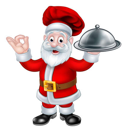 Santa Christmas Chef cartoon character giving a perfect delicious sign holding silver plate of food