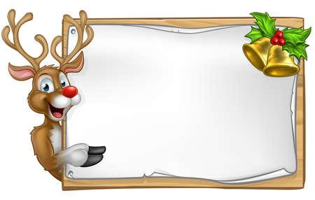 Personaje de dibujos animados de Navidad del reno que mira a escondidas alrededor de muestra de desplazamiento de madera con campanas de oro y el acebo y apuntando