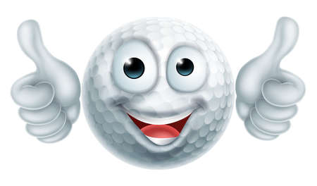 A happy cartoon golf ball man mascot character doing a double thumbs up