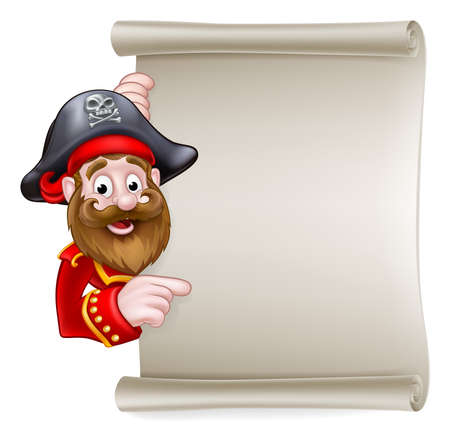 Cartoon pirate peeking around pointing at a scroll sign Illustration