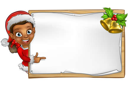 Christmas elf cartoon character in Santa hat peeking around wooden scroll sign with gold bells and holly and pointing