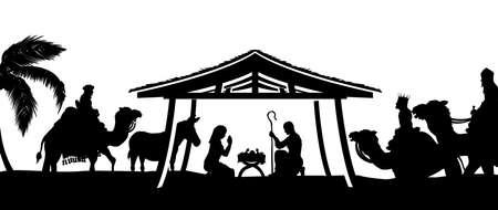 Scène de la Nativité de Noël de l'enfant Jésus dans la crèche avec Marie et Joseph en silhouette entourée par les animaux et les trois hommes sages