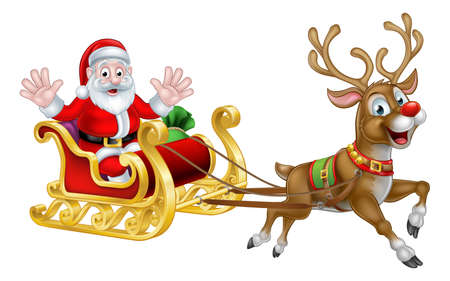 Santa Claus cartoon character in his Christmas sled sleigh with his red nosed reindeer Ilustração