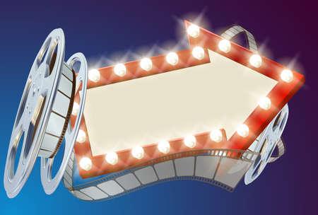A movie cinema film sign with light bulbs arrow sign and film reel