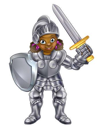 Cartoon junge schwarze Ritter Mädchen in ihrer Rüstung mit Schwert und Schild hält