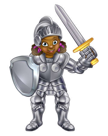 Cartoon young black knight girl in her suit of armour holding a sword and shield