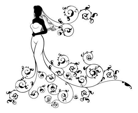 Eine Braut Hochzeit Silhouette im Brautkleid Kleid mit einem abstrakten Blumenmuster Design-Konzept