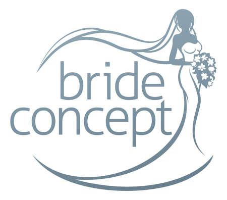 花の花の花束を持って白ブライダル ドレス ガウン シルエットで花嫁の抽象的なウェディング デザイン コンセプト