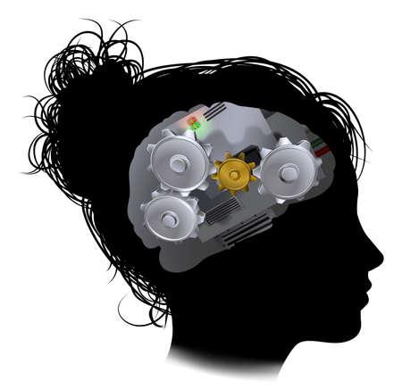 Silhouet van een vrouwenkop met een brein, bestaande uit tandwielen of tandwielen