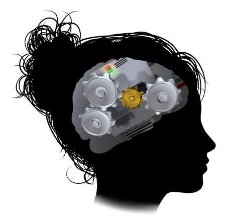 Silhouette of a womans head with a brain made up of gears or cogs workings machine parts