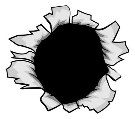 A hole torn in the paper or metal background design element