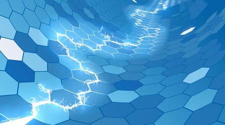 An abstract electric lightning blue honeycomb hexagon background Illusztráció